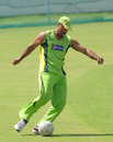 Shoaib Akhtar in action during a warm-up game of football, Mohali, March 27, 2011