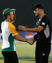 AB de Villiers shakes hands with Daniel Vettori after the defeat, New Zealand v South Africa, 3rd quarter-final, Mirpur, World Cup 2011, March 25, 2011