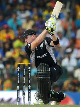 Scott Styris lashes through the off side, Sri Lanka v New Zealand, 1st semi-final, World Cup 2011, Colombo, March 29, 2011