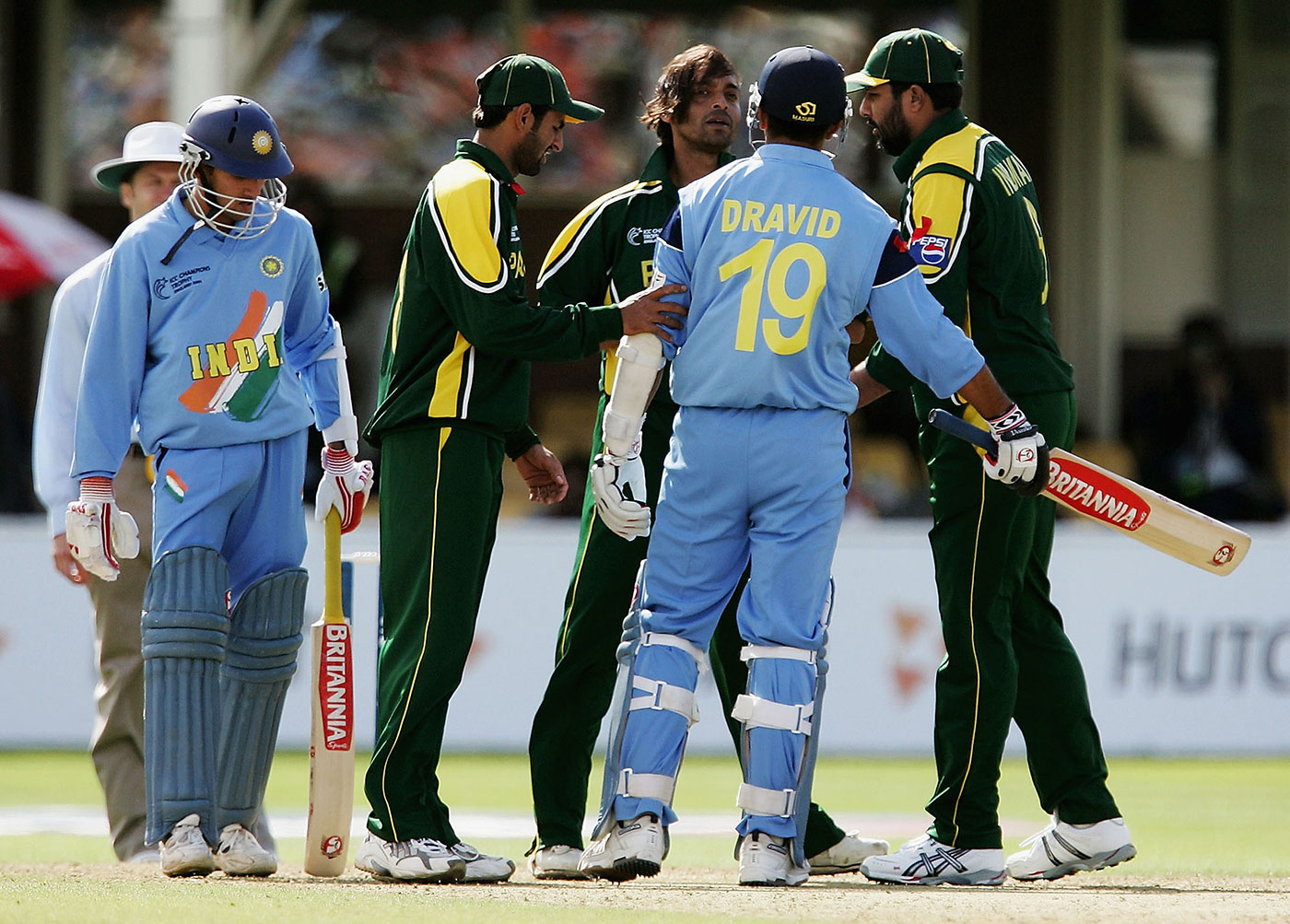 While players consider the rivalry as just another contest in a professional sphere, sometimes emotions can spill over in high-stakes games. Shoaib Akhtar and Rahul Dravid face off at the 2004 Champions Trophy, Edgbaston