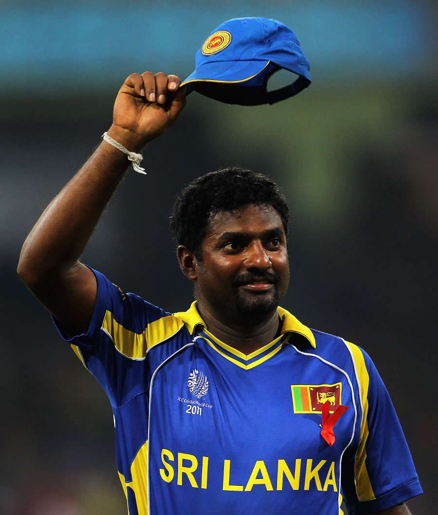 Muttiah Muralitharan salutes the crowd after completing his final ...