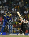 Andy McKay, New Zealand's No. 11, was bowled by Ajantha Mendis to end the innings, Sri Lanka v New Zealand, 1st semi-final, World Cup 2011, Colombo, March 29, 2011