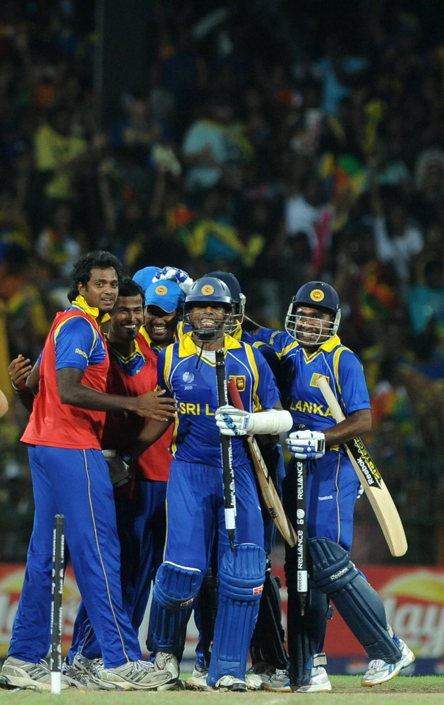 Sri Lanka celebrate their semi-final victory over New Zealand