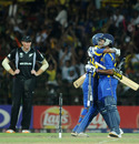 Thilan Samaraweera and Mahela Jayawardene are ecstatic after the victory, Sri Lanka v New Zealand, 1st semi-final, World Cup 2011, Colombo, March 29, 2011