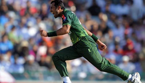 Wahab Riaz takes off after dismissing Yuvraj Singh first ball