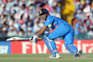 MS Dhoni plays one to fine leg during his knock of 25, India v Pakistan, 2nd semi-final, World Cup 2011, Mohali, March 30, 2011