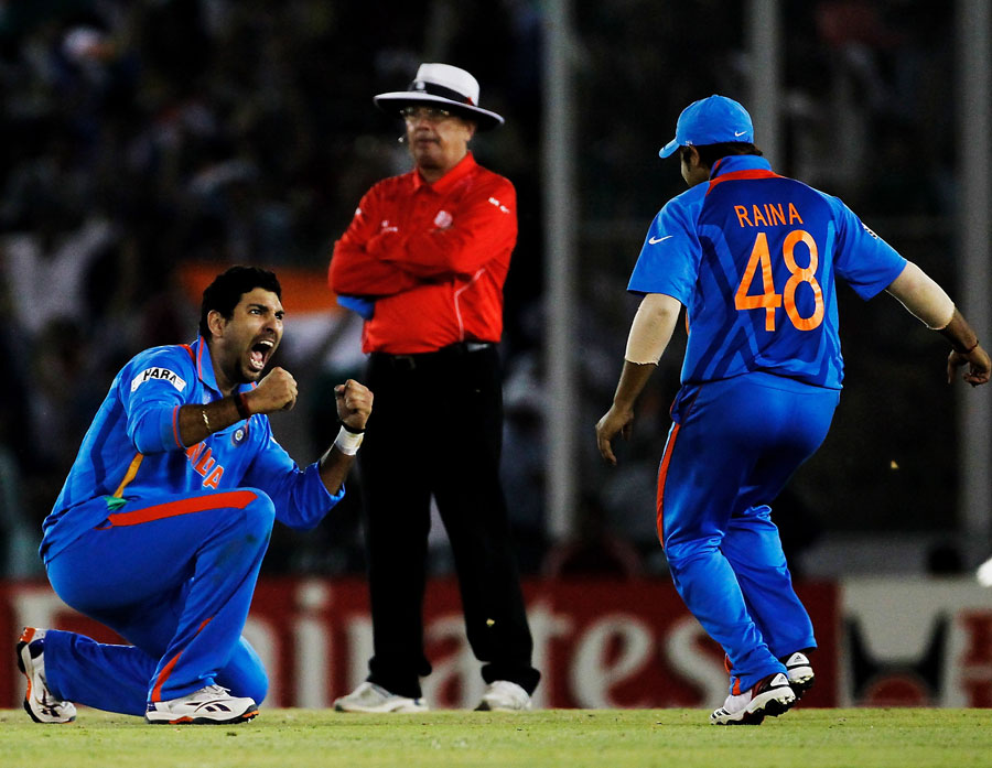 Yuvraj Singh picked up two crucial wickets to stall Pakistan's progress