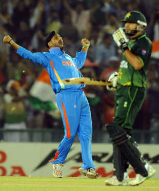 Joy for one. Disappointment for the other. Harbhajan Singh's dismissal of Shahid Afridi was the decisive blow in a tight semi-final in Mohali