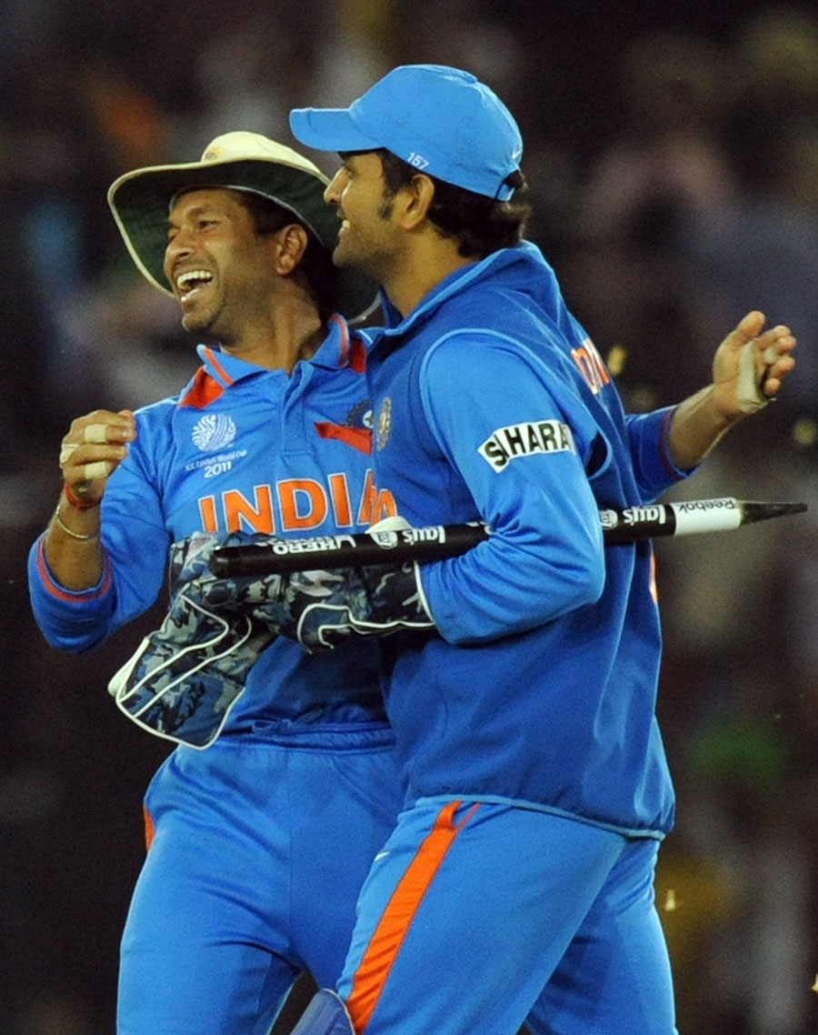 Sachin Tendulkar and MS Dhoni are thrilled after India's win