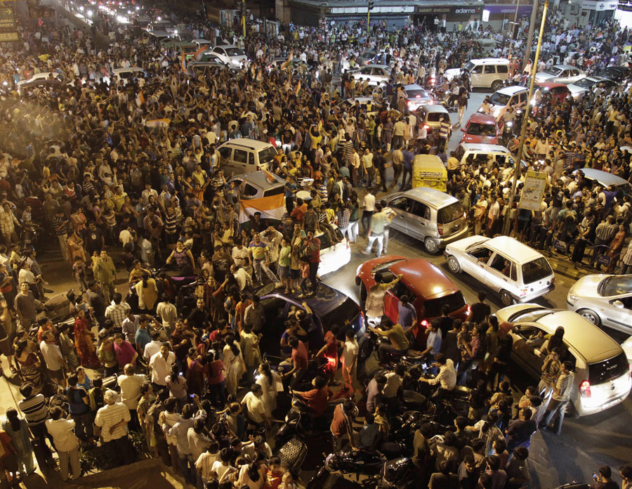 Jubilant scenes on an Ahmedabad street after India's victory