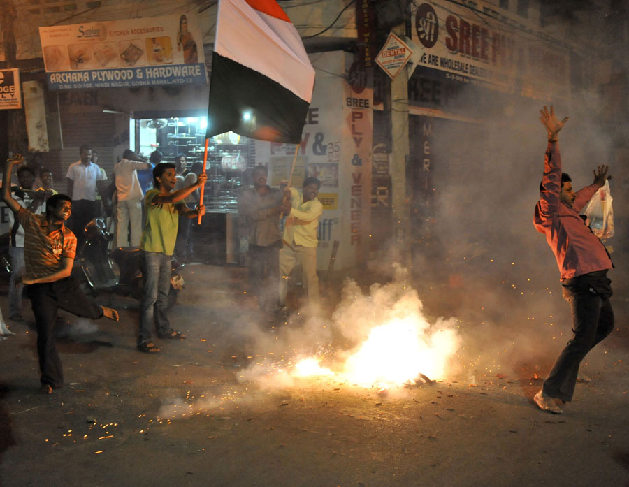 Crackers go off in Hyderabad to celebrate India's victory