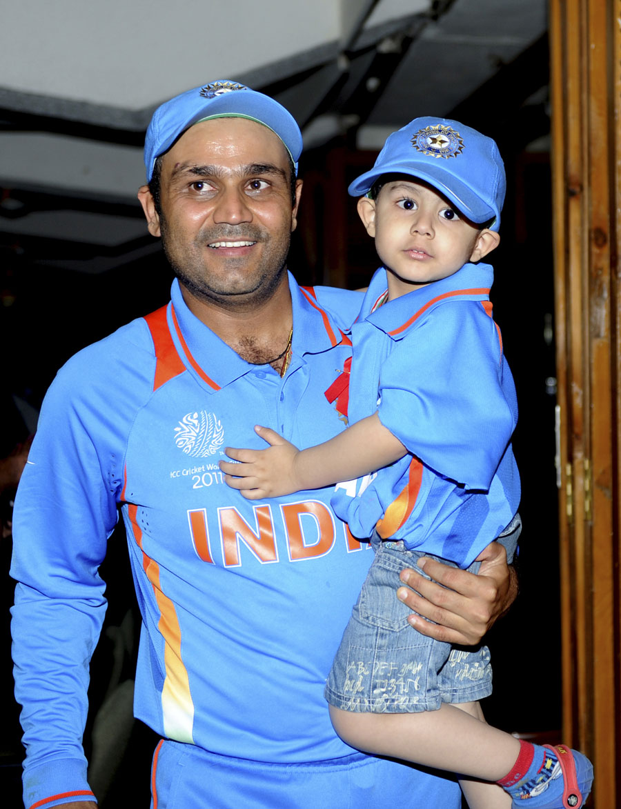 Virender Sehwag's son joins in the post-match celebrations