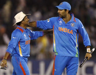 Sachin Tendulkar and Yuvraj Singh are pleased to be in the World Cup final, India v Pakistan, 2nd semi-final, World Cup 2011, Mohali, March 30, 2011