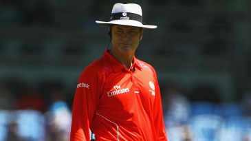 Umpire Simon Taufel on the field during England's game against South Africa