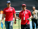 Simon Taufel and Aleem Dar get ready for the final