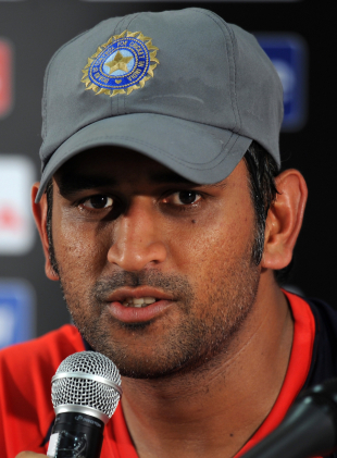 India captain Mahendra Singh Dhoni addresses a press conference the day before the World Cup final, Mumbai, April 1 2011