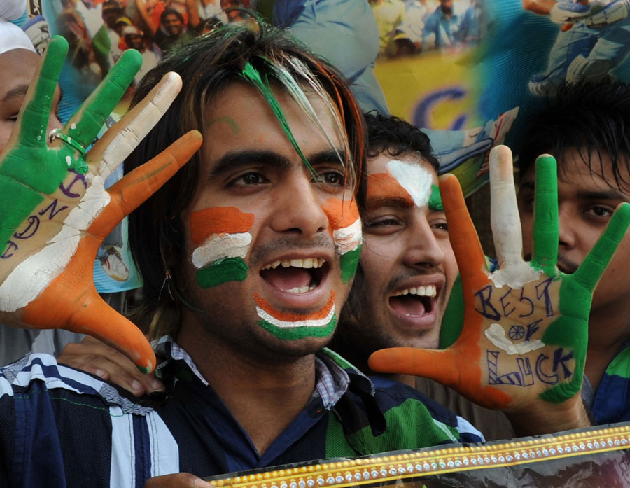 Indian fans cheer for Team India in Amritsar on the eve of the World Cup final
