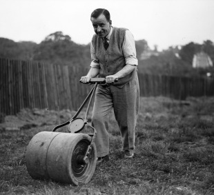 A roller is used in a backyard lawn, June 30, 1931