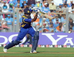 Mahela Jayawardene got to a fifty off 49 balls, India v Sri Lanka, final, Mumbai, April 2, 2011