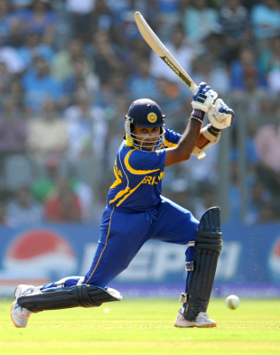 Mahela Jayawardene stroked six boundaries before he had reached fifty, India v Sri Lanka, final, World Cup 2011, Mumbai, April 2, 2011