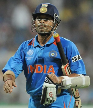 Sachin Tendulkar walks back after being dismissed, India v Sri Lanka, final, World Cup 2011, Mumbai, April 2, 2011