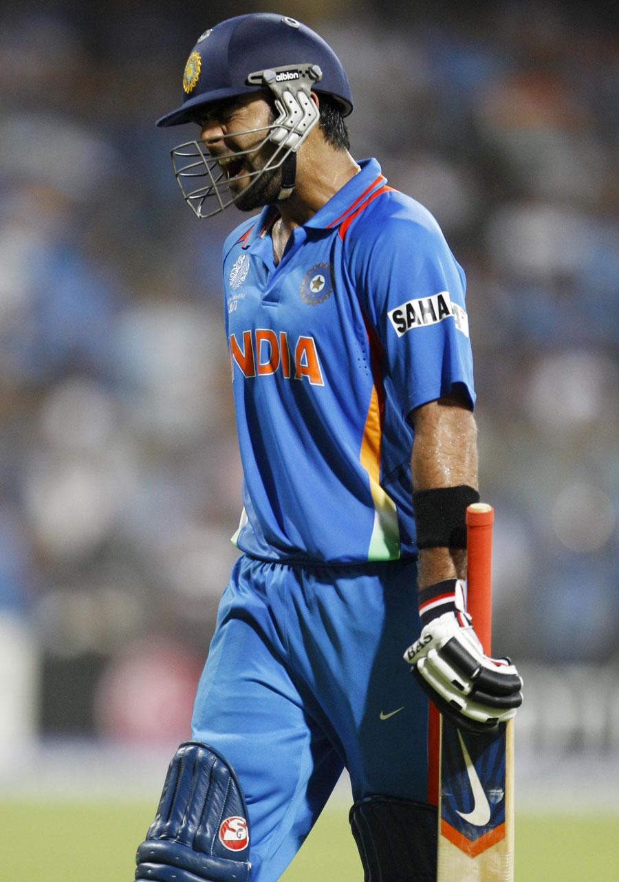 Virat Kohli screams in anguish as he walks back after his dismissal