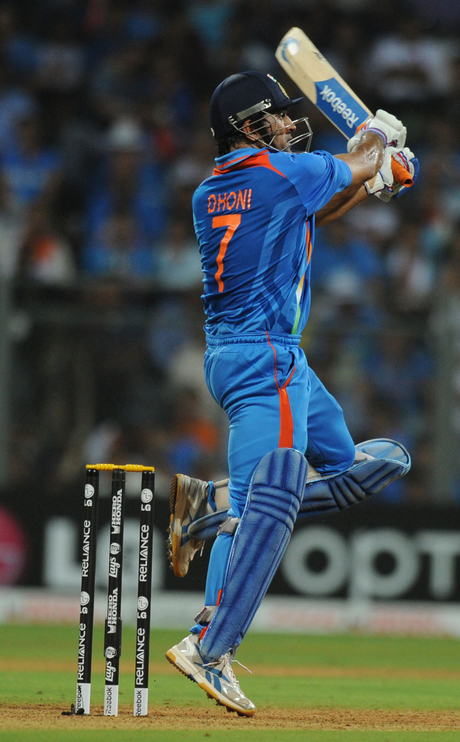 MS Dhoni plays a jumping pull during his half-century