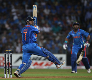 MS Dhoni cracks one over the off side, India v Sri Lanka, final, World Cup 2011, Mumbai, April 2, 2011