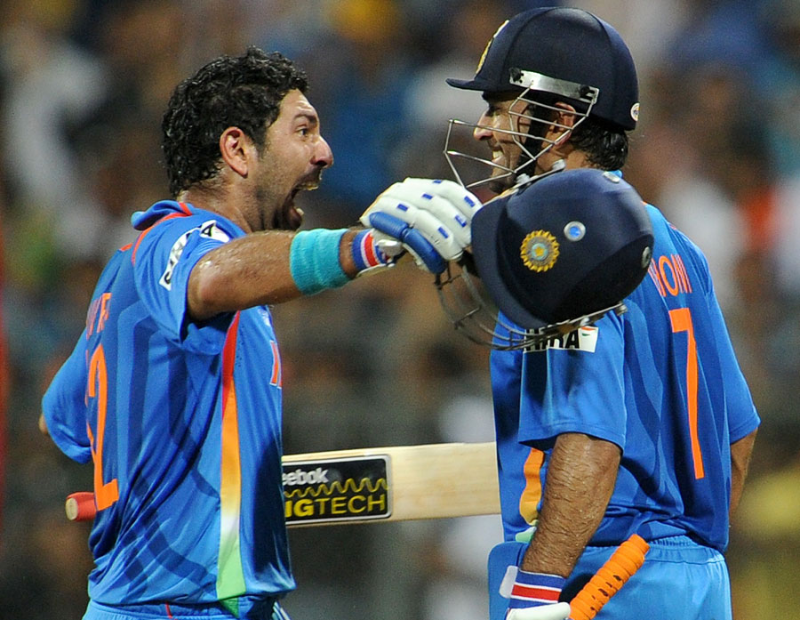 Yuvraj Singh and MS Dhoni celebrate the biggest win of their lives