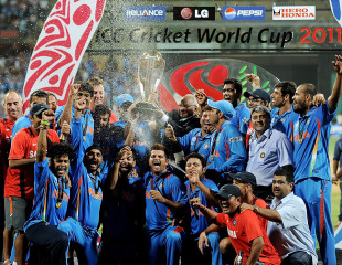 The Indian team celebrates with the Cup that counts, India v Sri Lanka, final, World Cup 2011, Mumbai, April 2, 2011