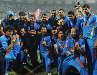 The Indian team celebrates with the World Cup, India v Sri Lanka, final, World Cup 2011, Mumbai, April 2, 2011