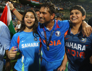 Sachin Tendulkar takes a victory lap along with daughter Sara and son Arjun, India v Sri Lanka, final, World Cup 2011, Mumbai, April 2, 2011