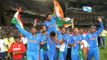 Sachin Tendulkar is carried around the Wankhede by his team-mates