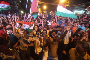 The streets of Mumbai are flooded with ecstatic Indian fans, April 2, 2011