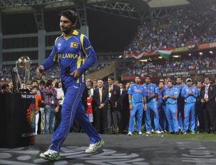 Kumar Sangakkara receives his runners-up medal, India v Sri Lanka, final, World Cup 2011, Mumbai, April 2, 2011
