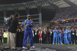 Muttiah Muralitharan ends his international career with a runners-up medal, India v Sri Lanka, final, World Cup 2011, Mumbai, April 2, 2011