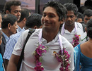 Sri Lanka captain Kumar Sangakkara is all smiles after his team reached home following their World Cup campaign