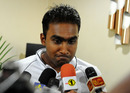 Mahela Jayawardene speaks to reporters upon his team's arrival in Sri Lanka