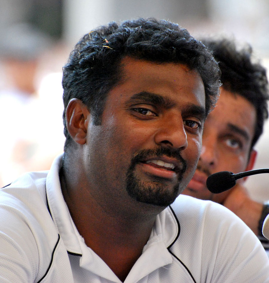 Muttiah Muralitharan addresses the media in Colombo after returning from the World Cup