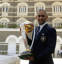 MS Dhoni with the World Cup trophy on the morning after the final