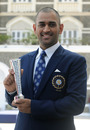 MS Dhoni with the Man-of-the-Match trophy he picked up in the World Cup final