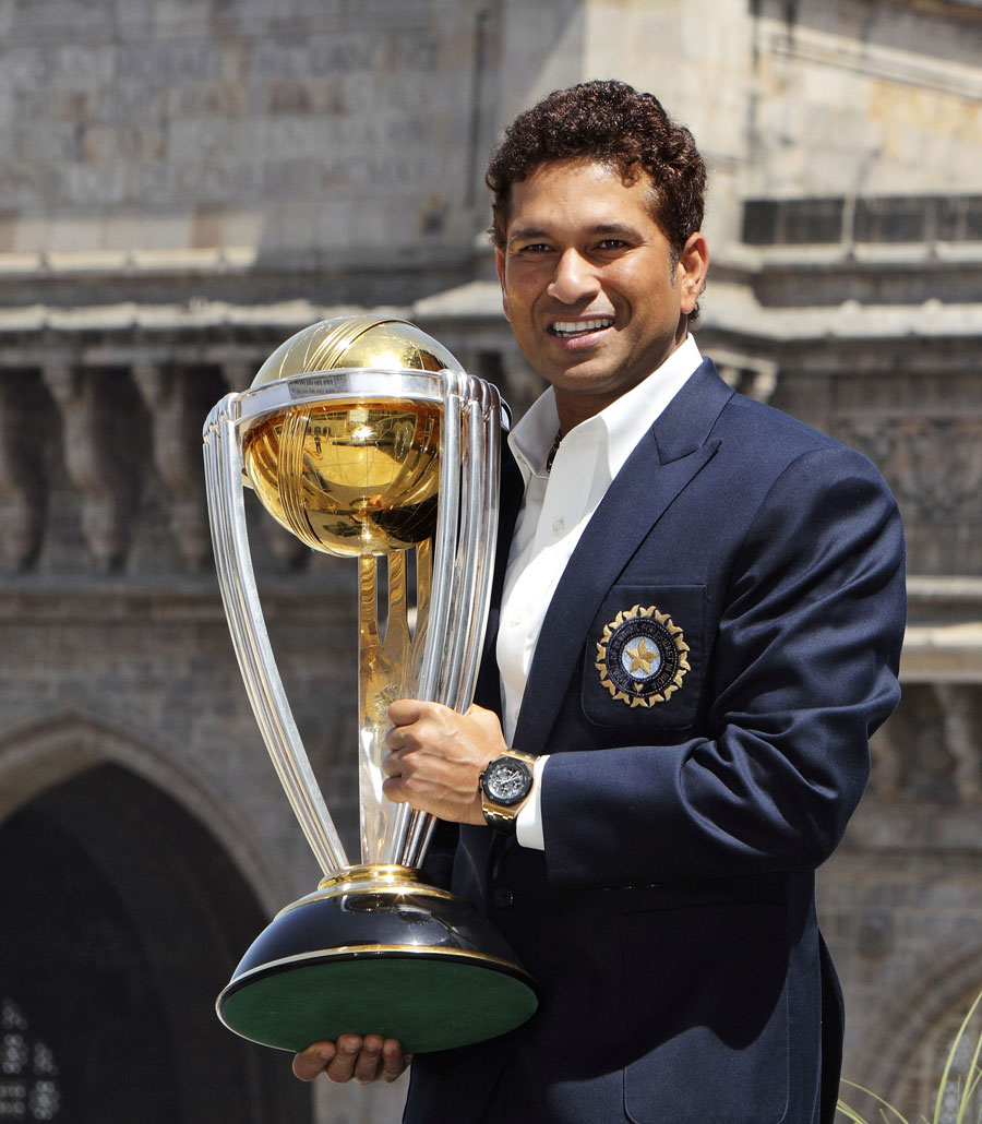 Sachin Tendulkar with the World Cup on the morning after India's triumph