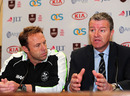 Surrey cricket manager Chris Adams alongside chairman Richard Thompson as they address the media, The Oval, April 1, 2011