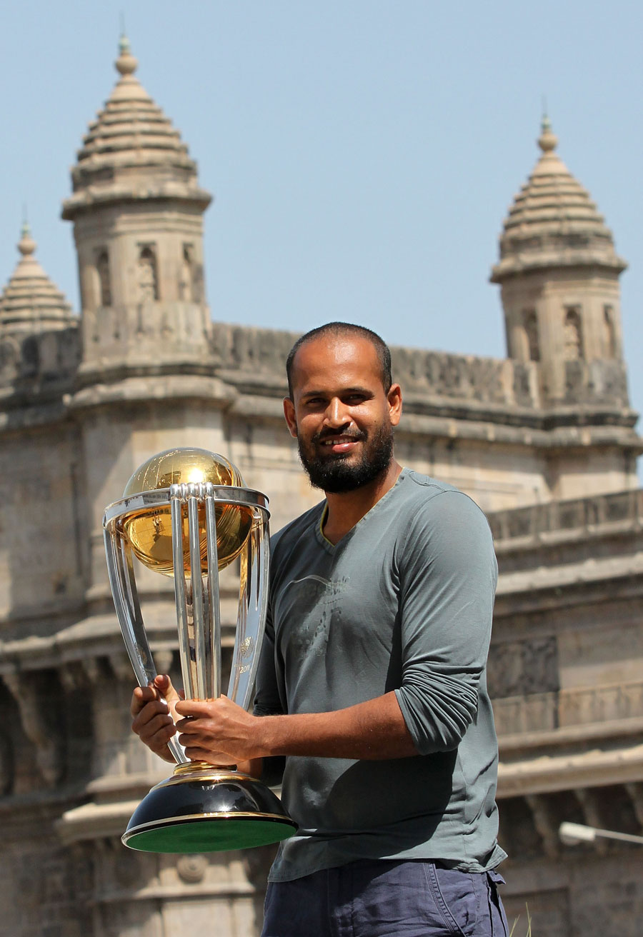 Yusuf Pathan poses with the World Cup
