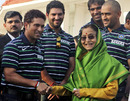 Members of the World Cup-winning team meet India's president Pratibha Patil, Mumbai, April 3, 2011