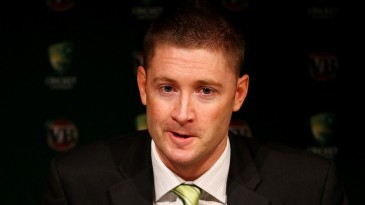 Michael Clarke at a press conference at Sydney airport