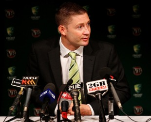 Michael Clarke speaks to reporters prior to leaving for Bangladesh, April 4, 2011