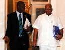 Sharad Pawar and Zimbabwe's Peter Chingoka at the Taj Palace hotel for an ICC board meeting, Mumbai, April 4, 2011