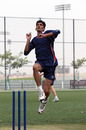 Adil Mehmood bowls during Hong Kong's training session at the ICC Global Cricket Academy in Dubai on 4th April 2011