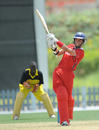 Hong Kong's Mark Chapman launches the ball during his unbeaten 70, Hong Kong v Uganda, Dubai, April 8, 2011